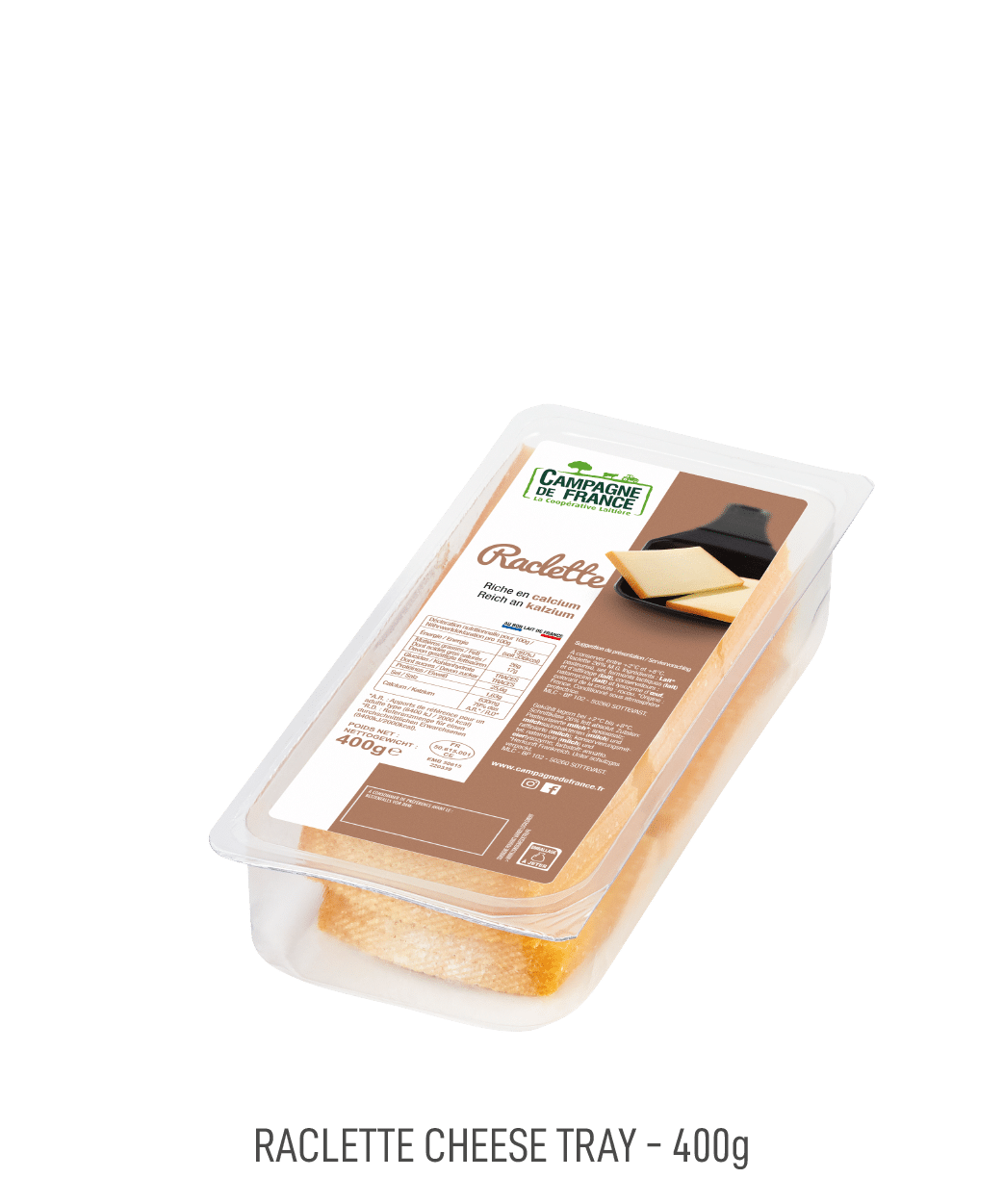 Fromage Raclette Campagne de France barquette 400g