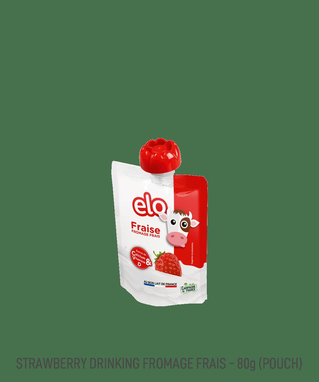 Gourde de yaourt à boire aromatisé à la fraise Elo